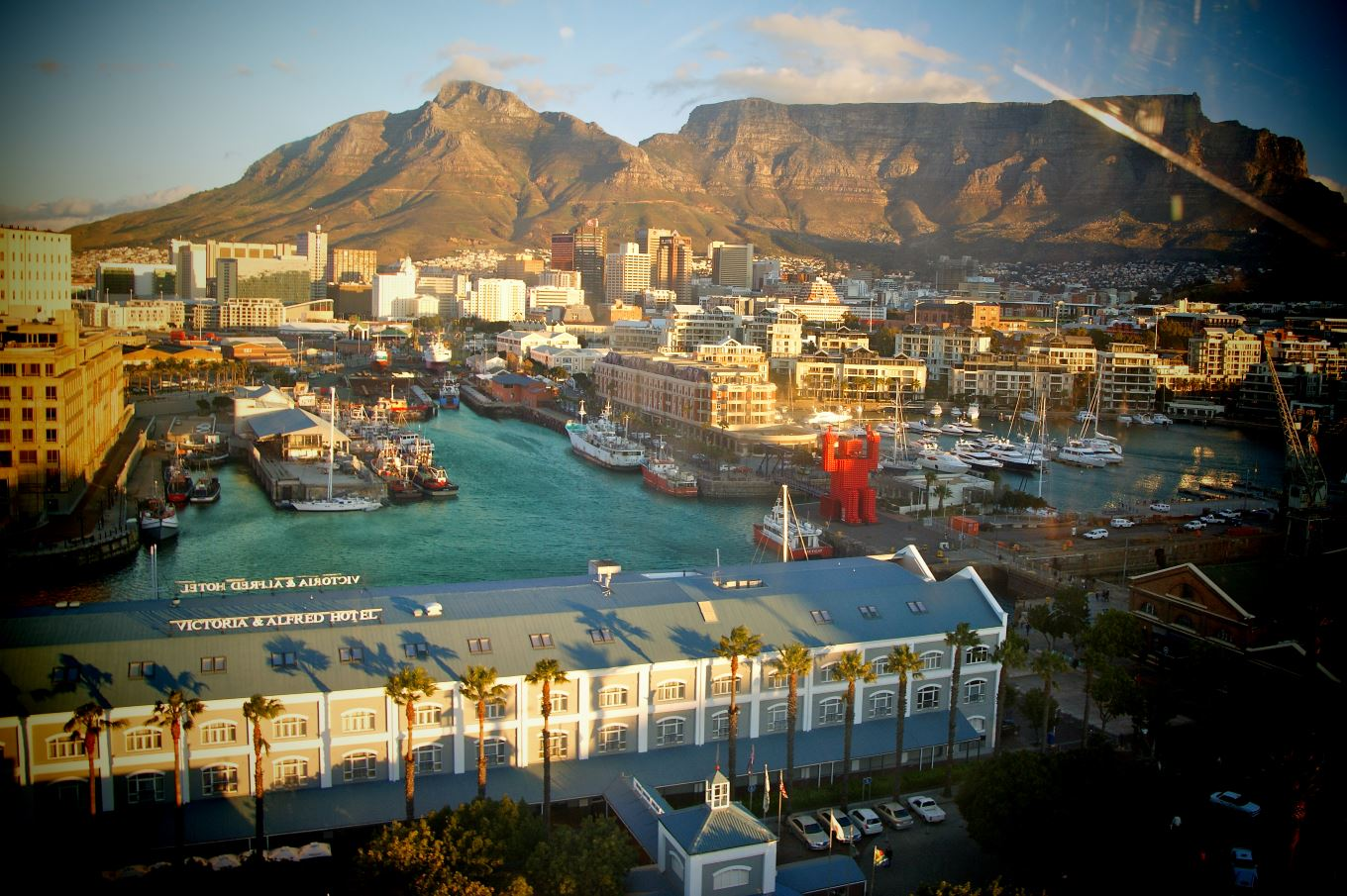 Cape Town with Table Mountain in South Africa with view Victoria & Alfred Hotel from V&A Waterfront