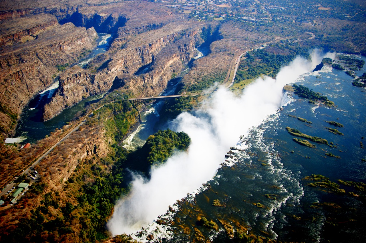 Helicopter Ride over the Victoria Falls in Zambia and Zimbabwe
