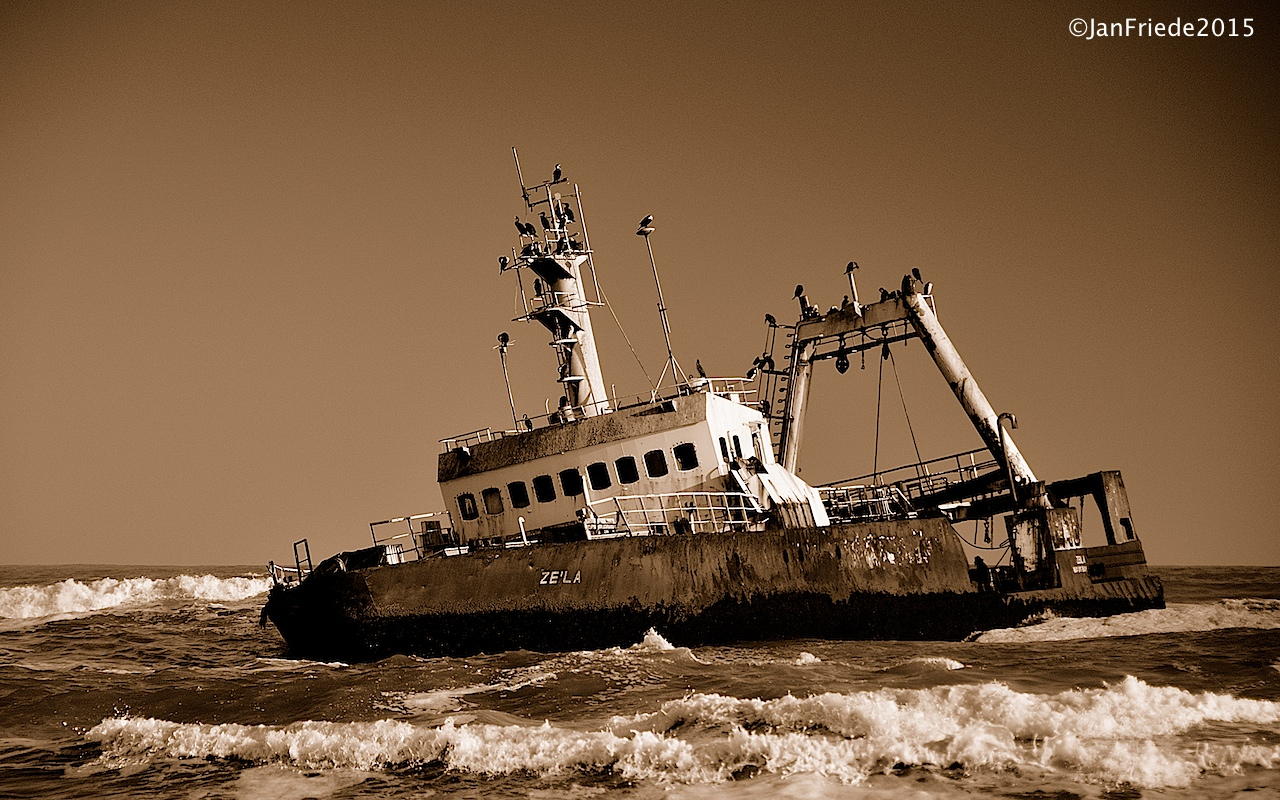 Shipwrecks at the Skeleton Coast in Namibia